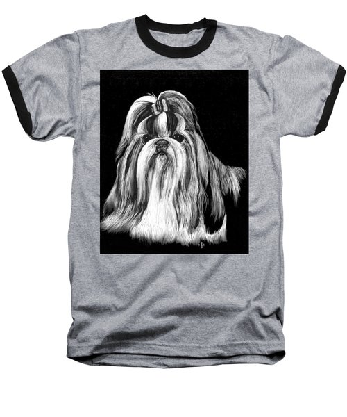 Shih Tzu Baseball T-Shirt by Rachel Hames