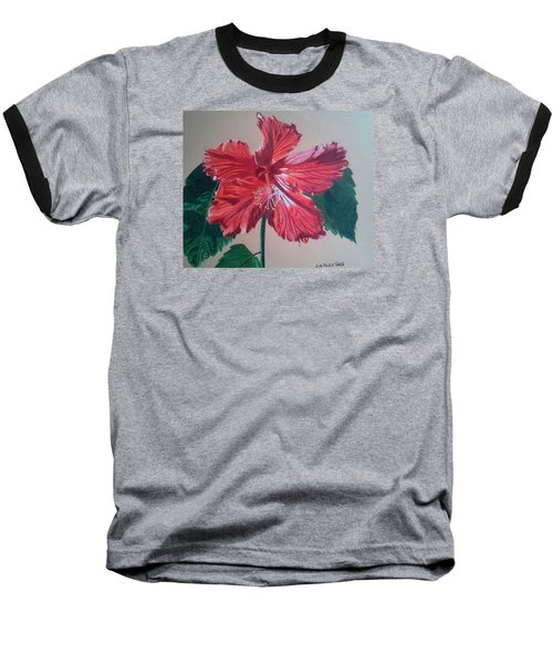 Shimmer - Red Hibiscus Baseball T-Shirt by Anita Putman
