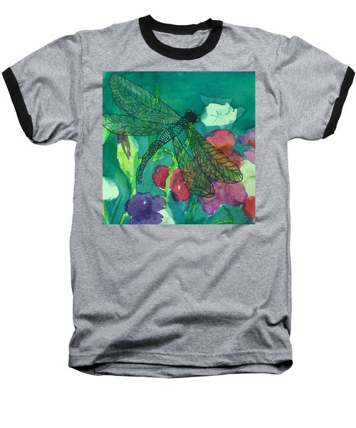 Shimmering Dragonfly W Sweetpeas Square Crop Baseball T-Shirt