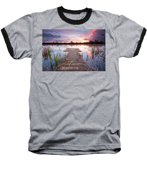 Shinewater Lake Sunrise Baseball T-Shirt