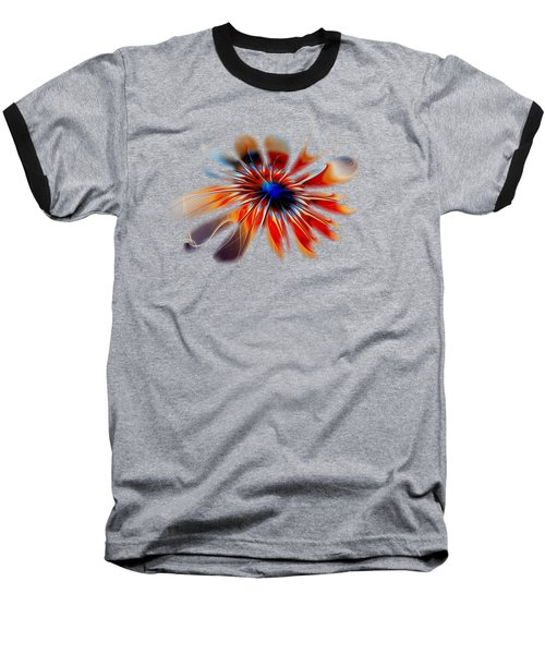 Shining Red Flower Baseball T-Shirt by Anastasiya Malakhova