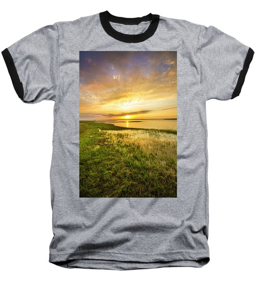 Shinnecock Bay Wetland Sunset Baseball T-Shirt