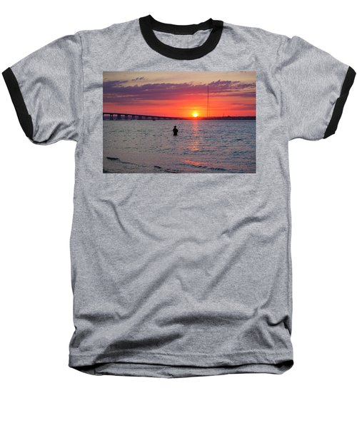 Shinnecock Fisherman At Sunset Baseball T-Shirt
