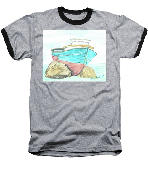 Baseball T-Shirt featuring the painting Ship Wreck by Terry Frederick
