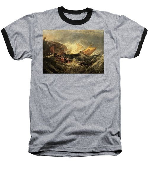 Baseball T-Shirt featuring the painting Shipwreck Of The Minotaur by J M William Turner
