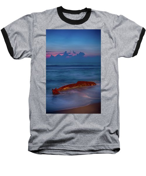 Shipwreck On The Outer Banks The End Baseball T-Shirt by Dan Carmichael