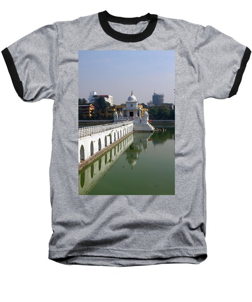 Shiva Temple In Lake Rani Pokharil, Kathmandu, Nepal Baseball T-Shirt by Aidan Moran
