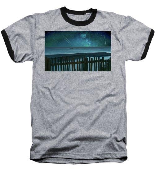 Shooting Stars Baseball T-Shirt by Marius Sipa