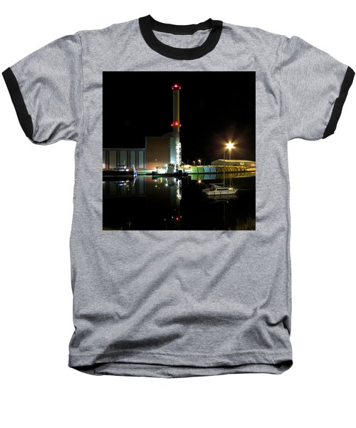 Shoreham Power Station Night Reflection Baseball T-Shirt
