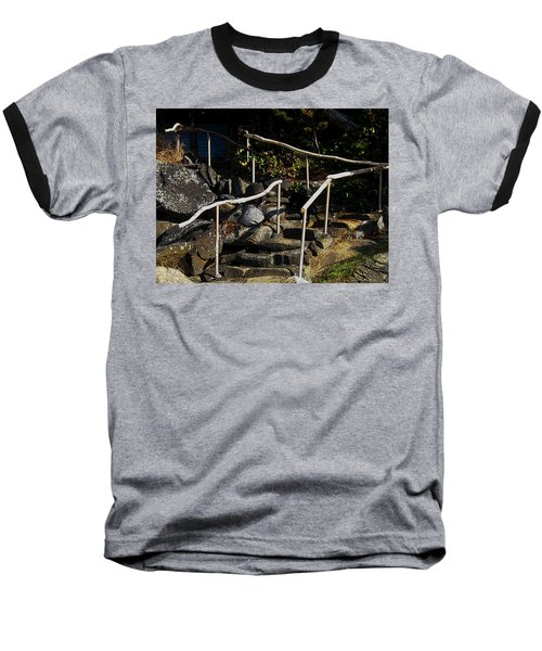 Shoreline Steps  Baseball T-Shirt by Anne Havard
