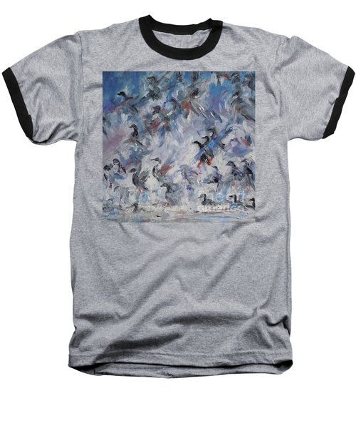 Baseball T-Shirt featuring the painting Shots Fired by Ellen Anthony