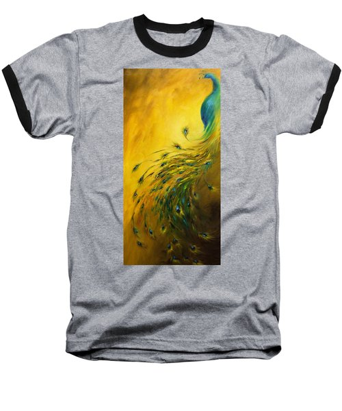 Baseball T-Shirt featuring the painting Show Off 1 Vertical Peacock by Dina Dargo