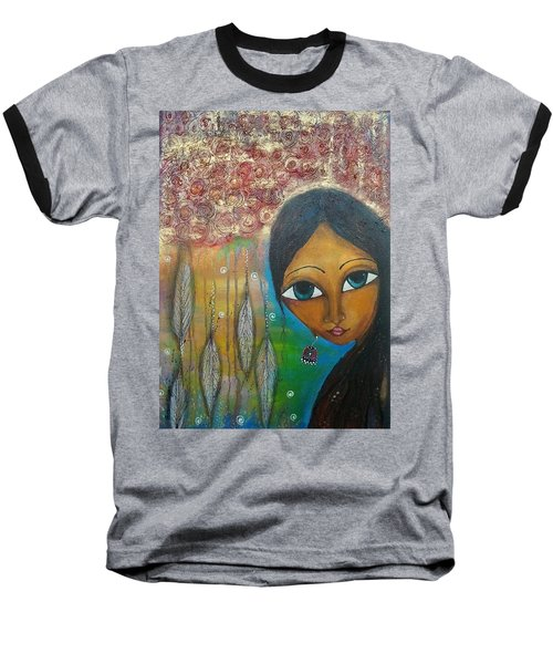 Baseball T-Shirt featuring the mixed media Shower Of Roses by Prerna Poojara