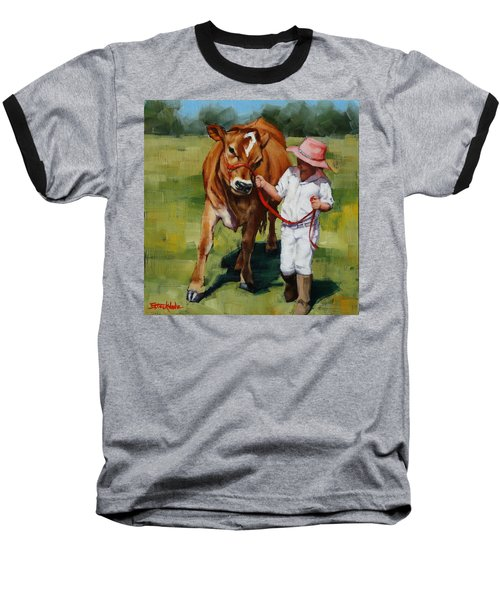 Baseball T-Shirt featuring the painting Showgirls by Margaret Stockdale