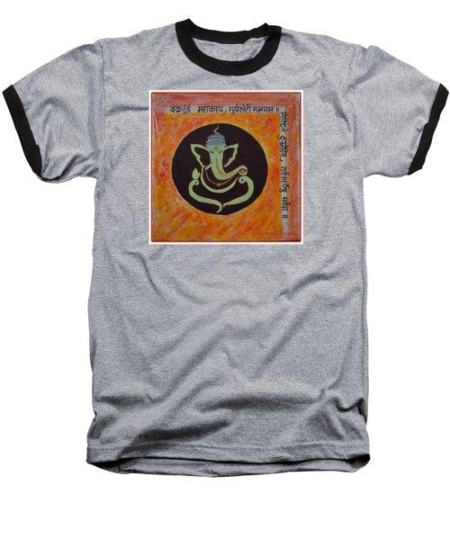 Baseball T-Shirt featuring the painting Shri Ganeshay Namah by Sonali Gangane