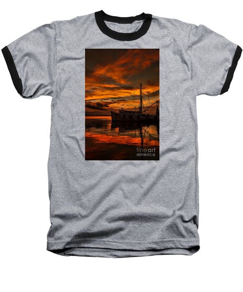 Shrimp Boat Sunset Baseball T-Shirt