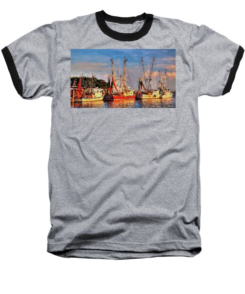 Shrimp Boats Shem Creek In Mt. Pleasant  South Carolina Sunset Baseball T-Shirt