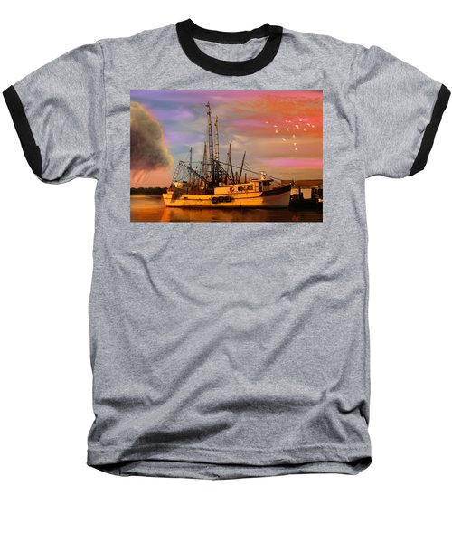 Shrimpers At Dock Baseball T-Shirt