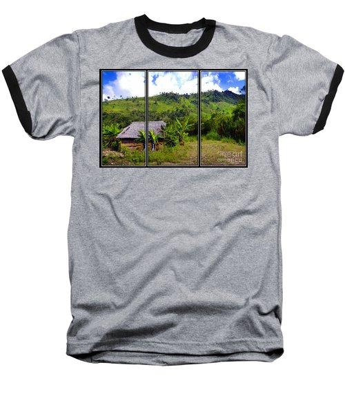 Baseball T-Shirt featuring the photograph Shuar Hut In The Amazon by Al Bourassa