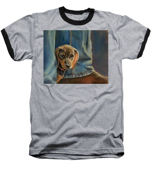 Baseball T-Shirt featuring the painting Shy Boy by Ceci Watson