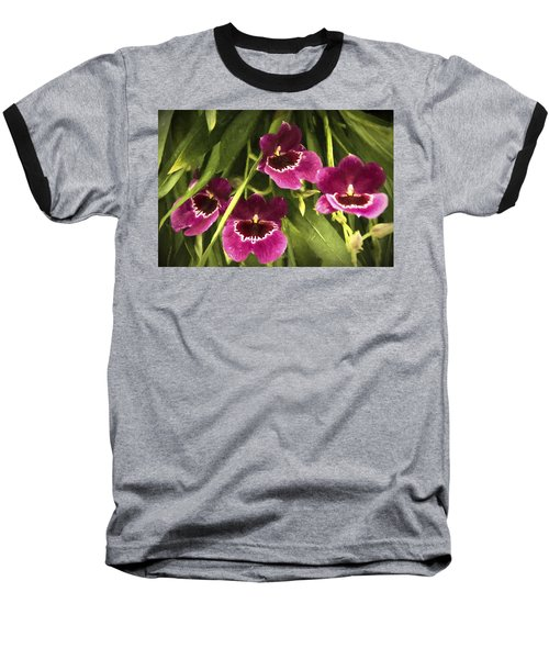 Baseball T-Shirt featuring the photograph Shy, Confident, Tentative And Awkward Orchids by Penny Lisowski
