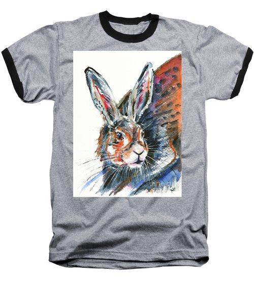 Baseball T-Shirt featuring the painting Shy Hare by Zaira Dzhaubaeva
