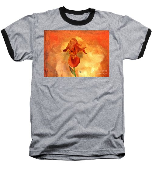 Shy Iris Baseball T-Shirt by Marsha Heiken