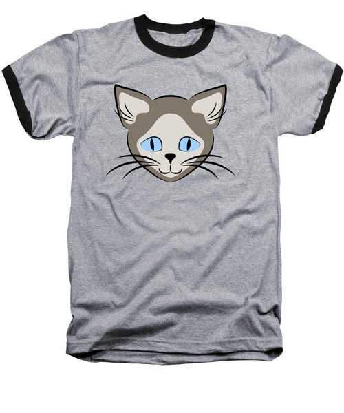 Siamese Cat Face With Blue Eyes Dark Baseball T-Shirt