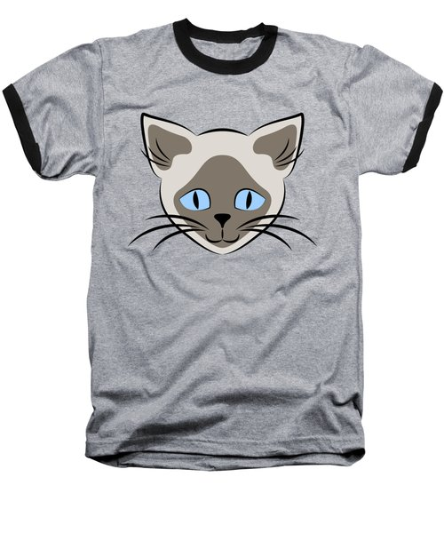 Siamese Cat Face With Blue Eyes Light Baseball T-Shirt