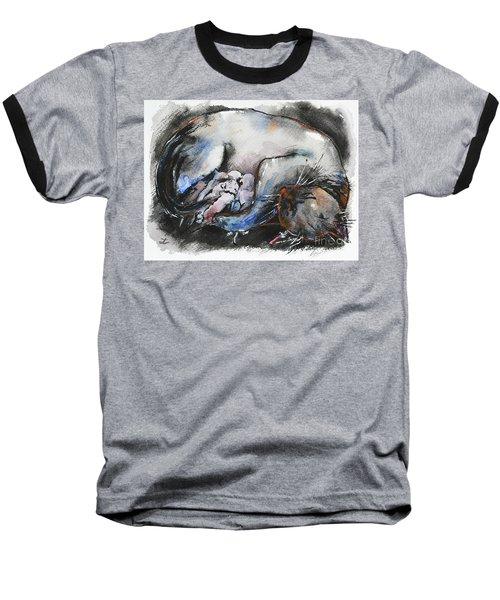 Baseball T-Shirt featuring the painting Siamese Cat With Kittens by Zaira Dzhaubaeva