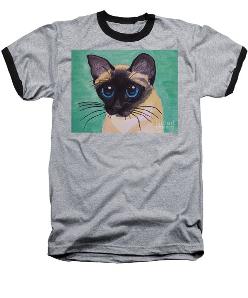 Baseball T-Shirt featuring the painting Siamese by Leslie Allen