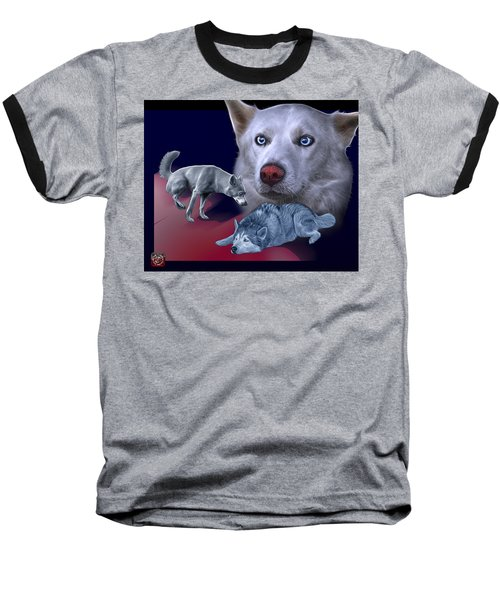 Siberian Husky - Modern Dog Art - 0002 Baseball T-Shirt