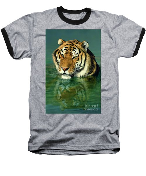 Siberian Tiger Reflection Wildlife Rescue Baseball T-Shirt by Dave Welling