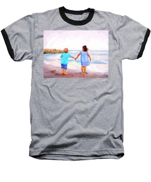 Sibling At Sunset Baseball T-Shirt