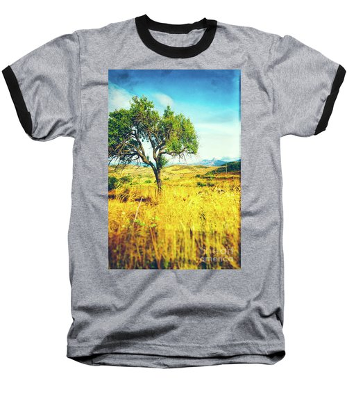 Baseball T-Shirt featuring the photograph Sicilian Landscape With Tree by Silvia Ganora