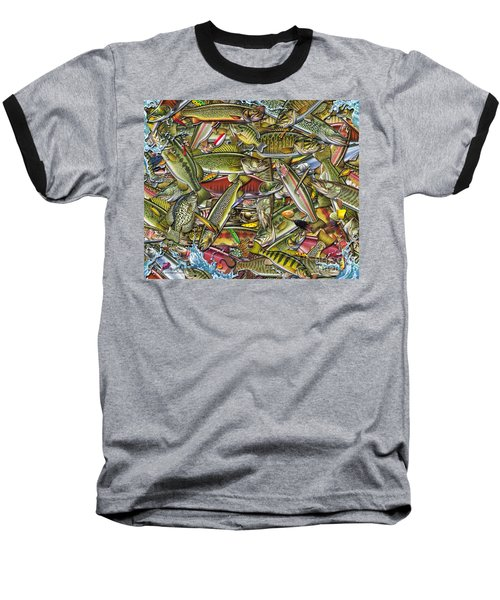 Baseball T-Shirt featuring the painting Side Fish Collage by Jon Q Wright JQ Licensing