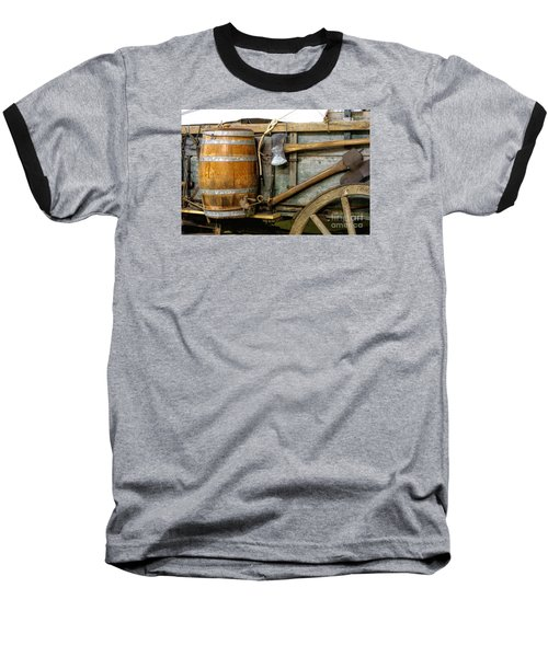 Side View Of A Covered Wagon Baseball T-Shirt by Linda Phelps