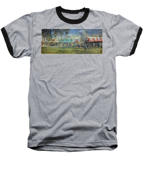 Baseball T-Shirt featuring the photograph Sidewalk Cafe Venice Ca Panorama  by David Zanzinger