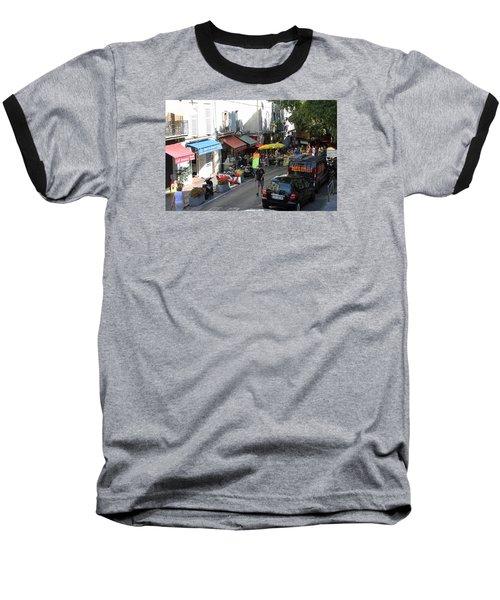 Sidewalk Cafes Baseball T-Shirt by Allan Levin