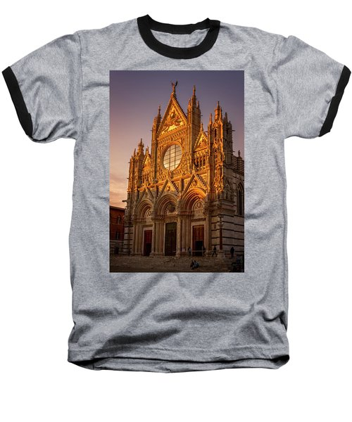 Baseball T-Shirt featuring the photograph Siena Italy Cathedral Sunset by Joan Carroll