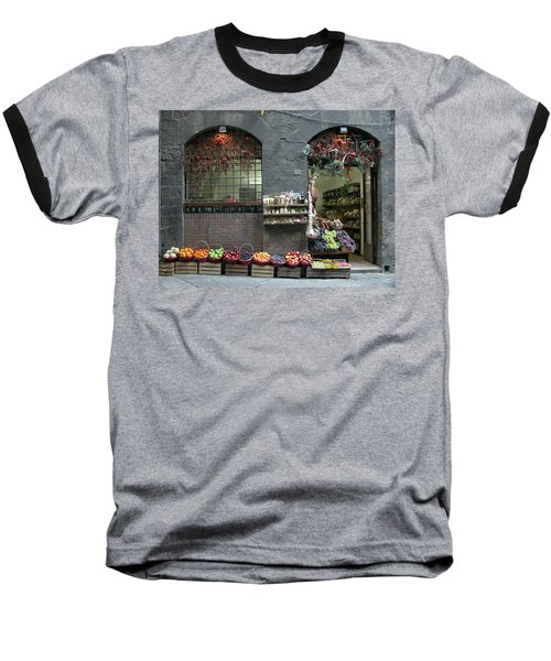 Baseball T-Shirt featuring the photograph Siena Italy Fruit Shop by Mark Czerniec