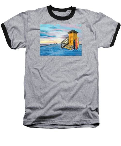 Siesta Key Life Guard Shack At Sunset Baseball T-Shirt
