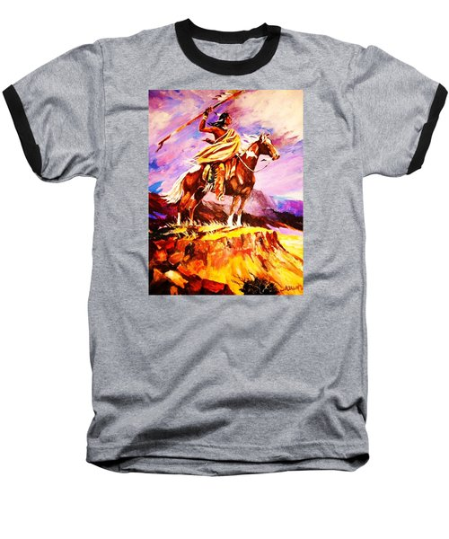 Baseball T-Shirt featuring the painting Signalling Sighting Of The Buffalo Herd by Al Brown