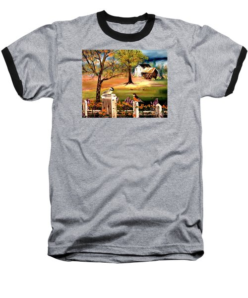 Baseball T-Shirt featuring the painting Signs Of Spring by Denise Tomasura