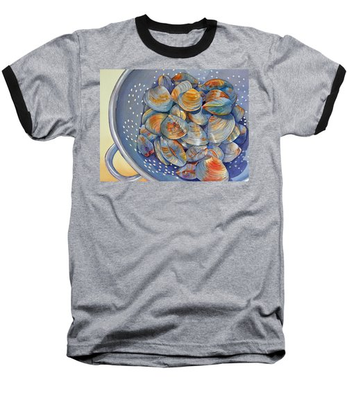 Baseball T-Shirt featuring the painting Silence Of The Clams by Judy Mercer