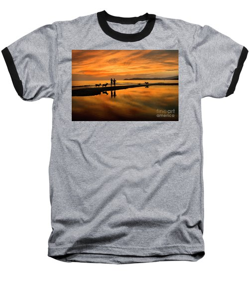 Silhouette And Amazing Sunset In Thassos Baseball T-Shirt