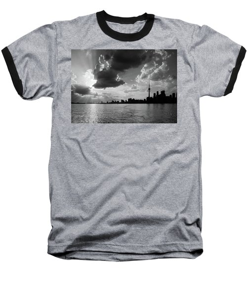 Silhouette Cn Tower Baseball T-Shirt by Nick Mares