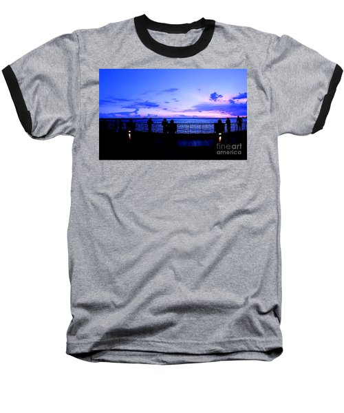 Baseball T-Shirt featuring the photograph Silhouette Of People At Sunset by Yali Shi