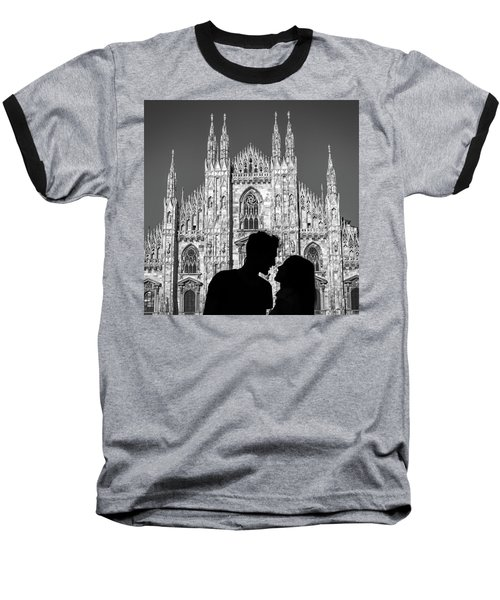 Silhouette Of Young Couple Kissing In Front Of Milan's Duomo Cathedral Baseball T-Shirt