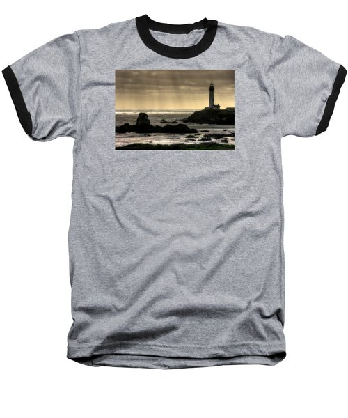 Silhouette Sentinel - Pigeon Point Lighthouse - Central California Coast Spring Baseball T-Shirt